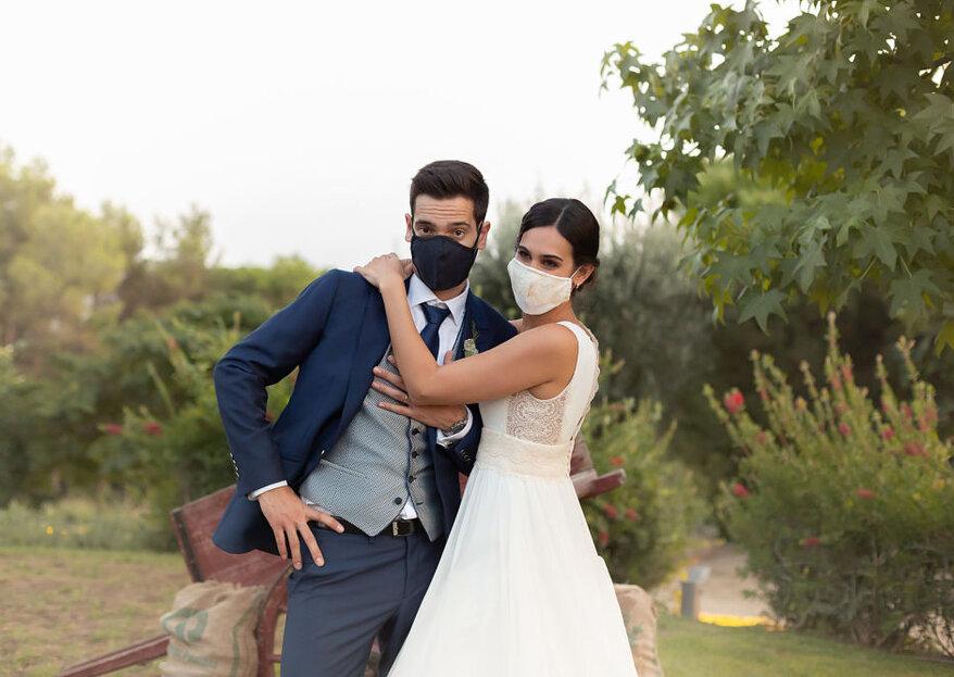 """La encantadora """"boda COVID"""" de Lourdes y Ramón organizada por Entre tonos pastel"""